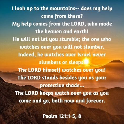 I look up to the mountains-- does my help come from there_ My help comes from the LORD, who made the heaven and earth! He will n